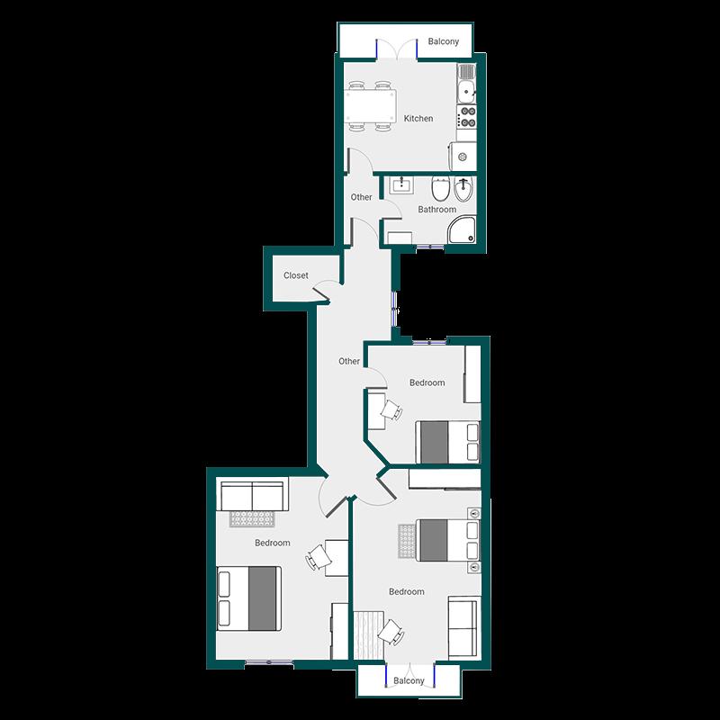 Con tre camere
